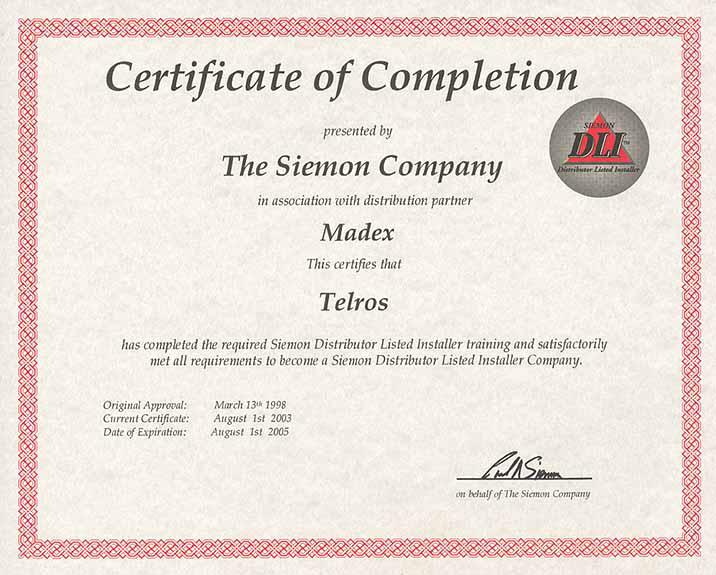 Статус официального дистрибьютора Siemon DLI (Distributor Listed Installer)