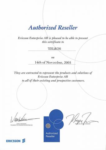 Авторизированный партнер Ericsson (Authorized Reseller)